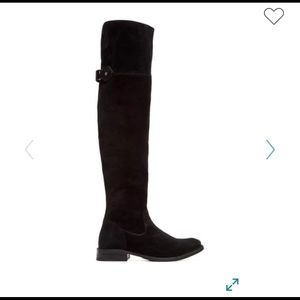 Frye Black Suede Shirley Over the Knee Boot